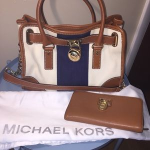 michael kors hamilton cloth bag and wallet set